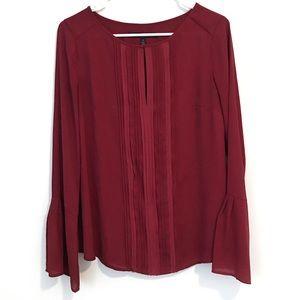 White House Black Market Red Flare Sleeve Blouse 6